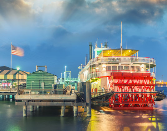 Steamboat on Mississippi river