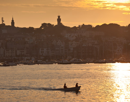 St Peter Port Harbour at sunset
