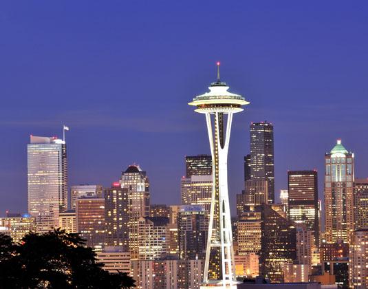 Space Needle, Seattle Skyline at Night
