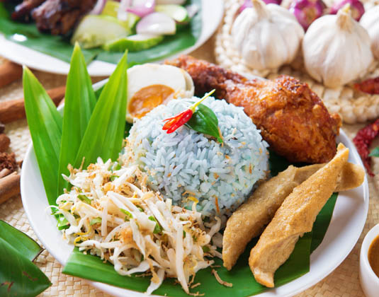Nasi kerabu or nasi ulam Malay food