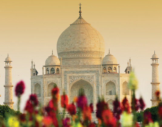 Taj Mahal in sunset light
