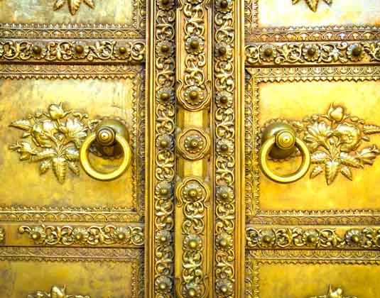 Golden door in City Palace. Jaipur